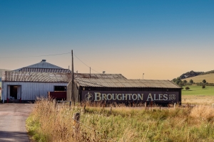 Broughton Brewery surrounded by the Scottish Borders countryside taken at sunset.