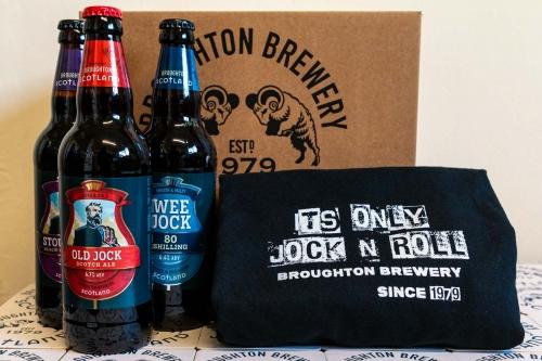 Box with Old Jock, stout Jock and Wee Jock and Jock n Roll t-shirt